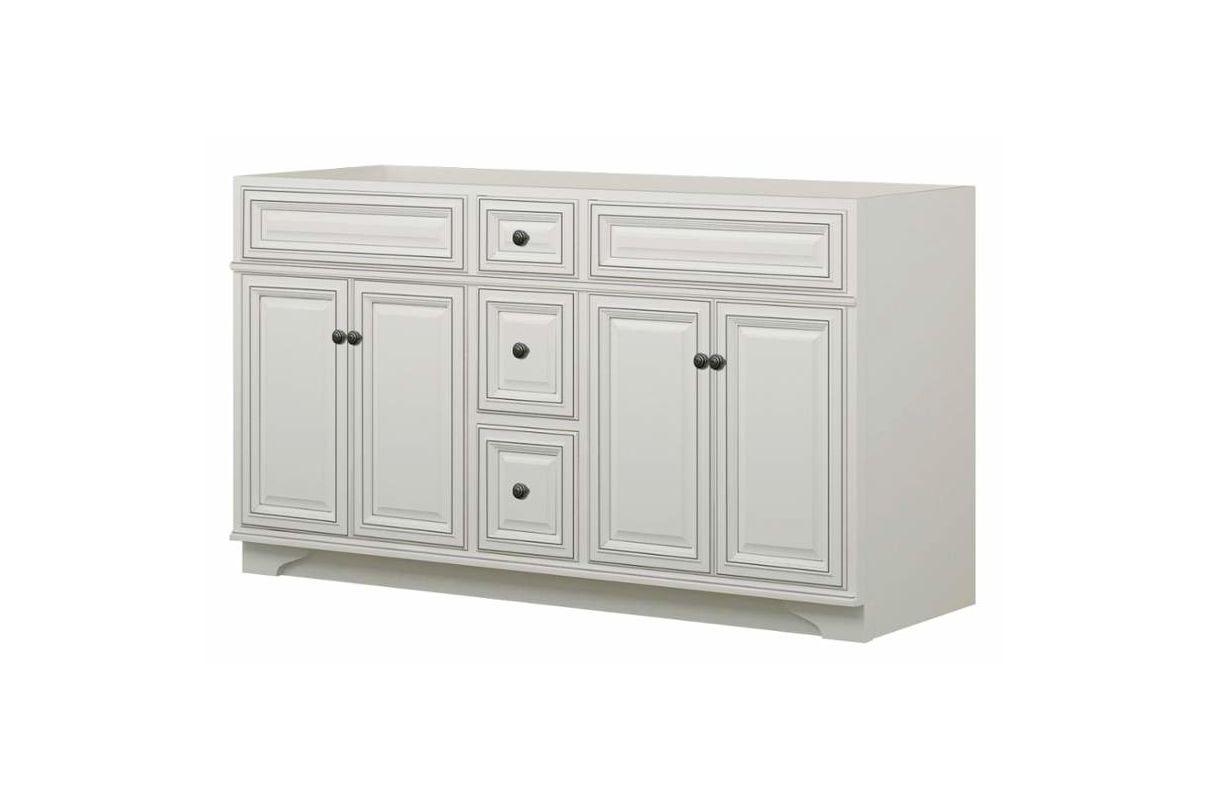 Sunny wood sl6021d glazed white sanibel 60 wooden vanity for Sanibel white kitchen cabinets