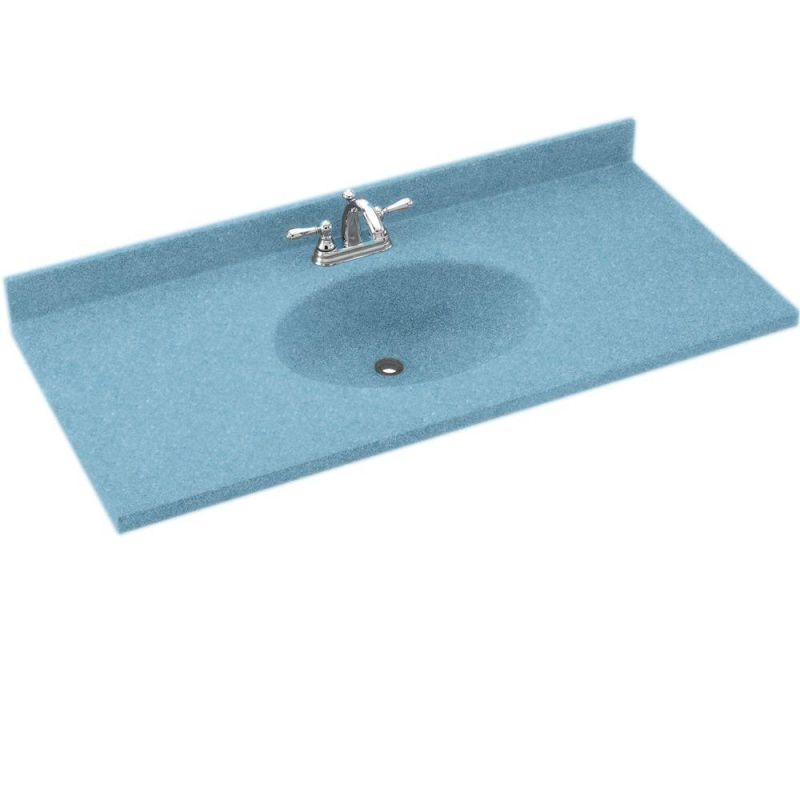 Swanstone Ch1b2243056 Tahiti Blue Chesapeake One Piece Vanity Top And Sink 43 Wide