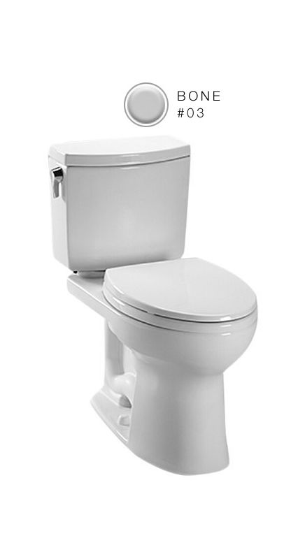 Toto CST454CUFG#03 Bone Drake II 1 GPF Two Piece Elongated Toilet with ...