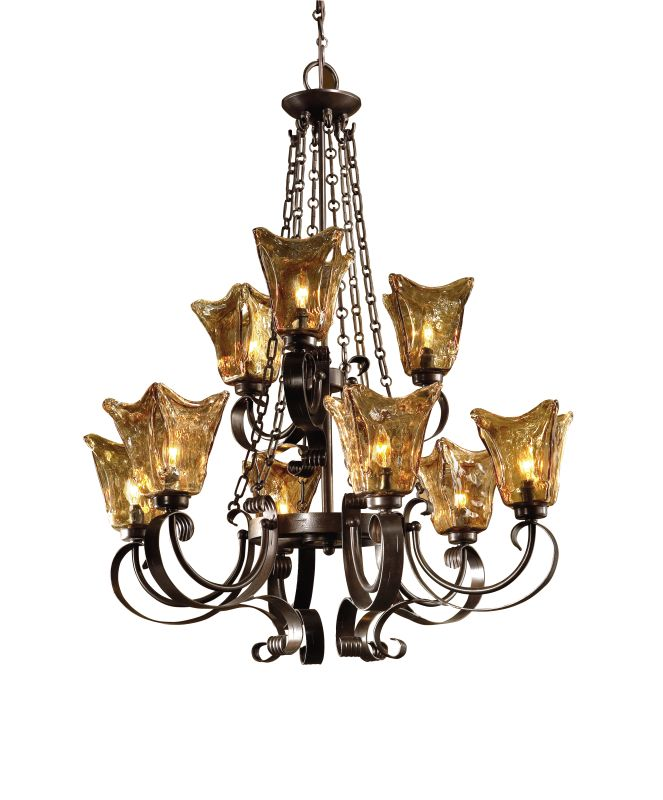 Uttermost Five Oil Rubbed Bronze  Tier Chandelier With Handmade Glass Shades From The