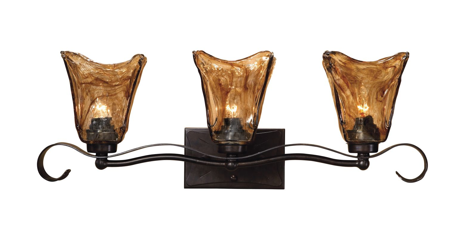 Can Vanity Lights Be Installed Upside Down : Uttermost 22801 Oil Rubbed Bronze 3 Light 26