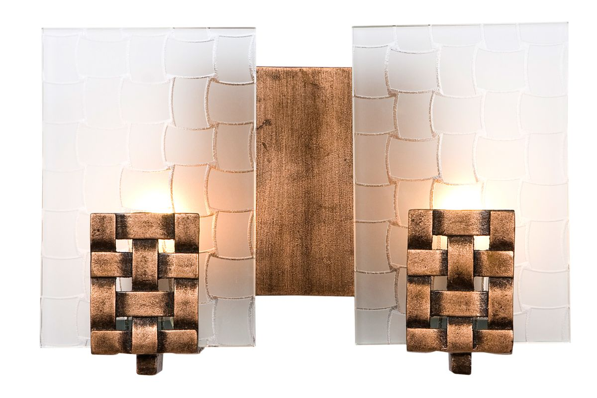 Varaluz 180b02 Blackened Copper With Frosted Plate Glass