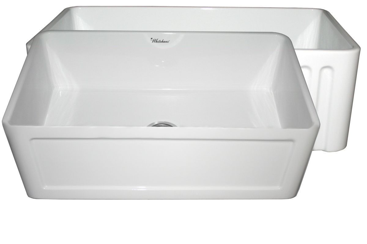 "Whitehaus WHFLCON3018 WHITE White 30"" Dual Apron Reversible Fireclay Kitchen Sink from the"
