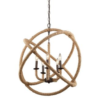 Artcraft Lighting Clfive Bronze Danbury Five Light Rope Globe Chandelier Nine Inches Wide