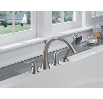 Delta T4738 Chrome Lahara Roman Tub Faucet Trim With Hand