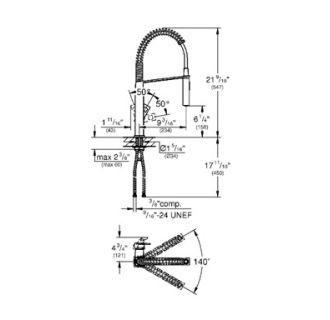 Grohe 31401000 Chrome Eurocube Pre Rinse Kitchen Faucet