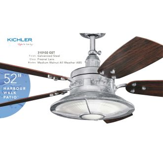 Kichler 310102gst Galvanized Steel 52 Quot Outdoor Ceiling Fan
