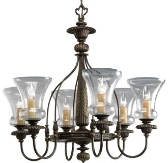 Progress Lighting P4409 77 Forged Bronze Fiorentino Six Light Single Tier Cha