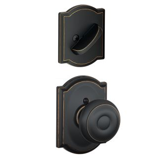 Schlage F94geo716cam Aged Bronze Georgian Dummy Interior Pack With Deadbolt Cover Plate And