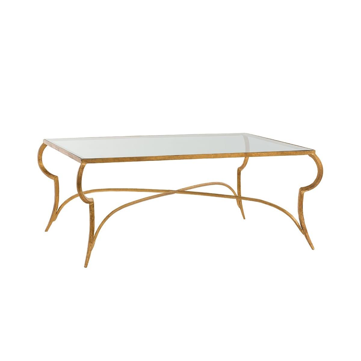 Astounding Arteriors 6181 Gold Leaf Elba 42 Inch Long Glass Top Iron Machost Co Dining Chair Design Ideas Machostcouk