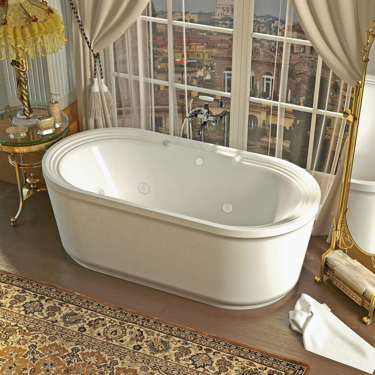 Avano Av3467rd White Fiji 66 7 8 Acrylic Air Whirlpool Bathtub For Freestanding Installations With Center Drain Faucet Com