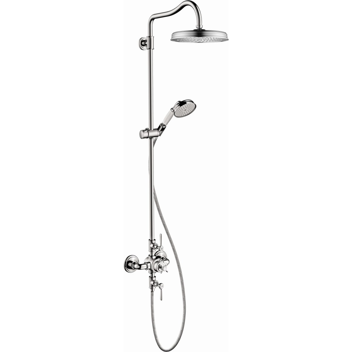 Picture of: Axor 16574001 Chrome Montreux Thermostatic Exposed Shower System Includes Shower Head Hand Shower Shower Arm Hose Valve Trim And Rough In Valve Limited Lifetime Warranty Faucet Com