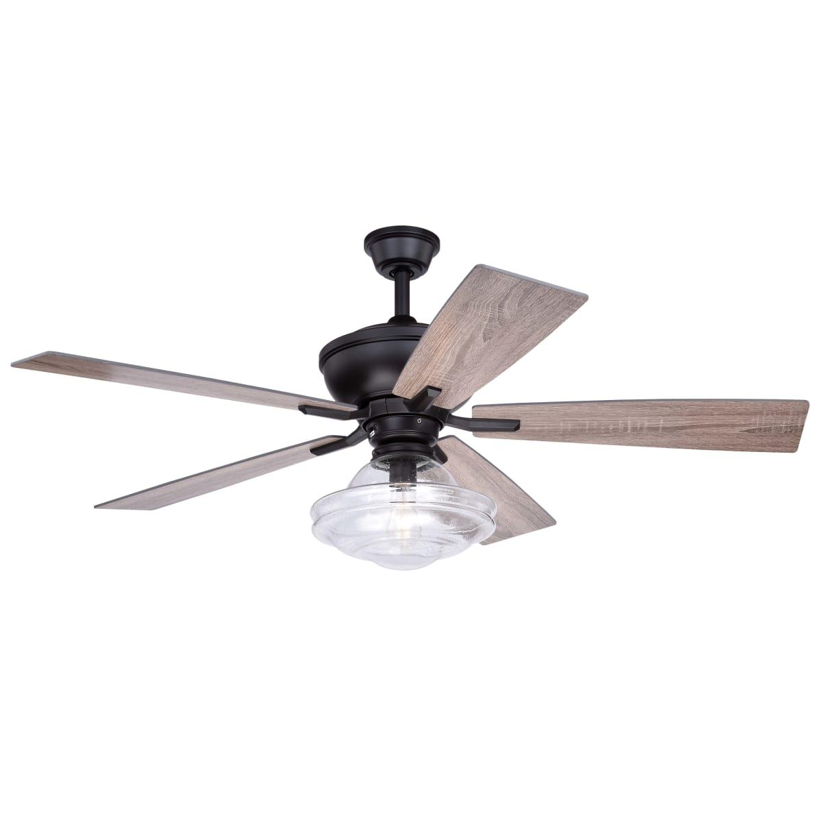 Bellevue Vxcfa43057brz Bronze Kash 52 5 Blade Ceiling Fan With A Glass Shade Lightingshowplace Com
