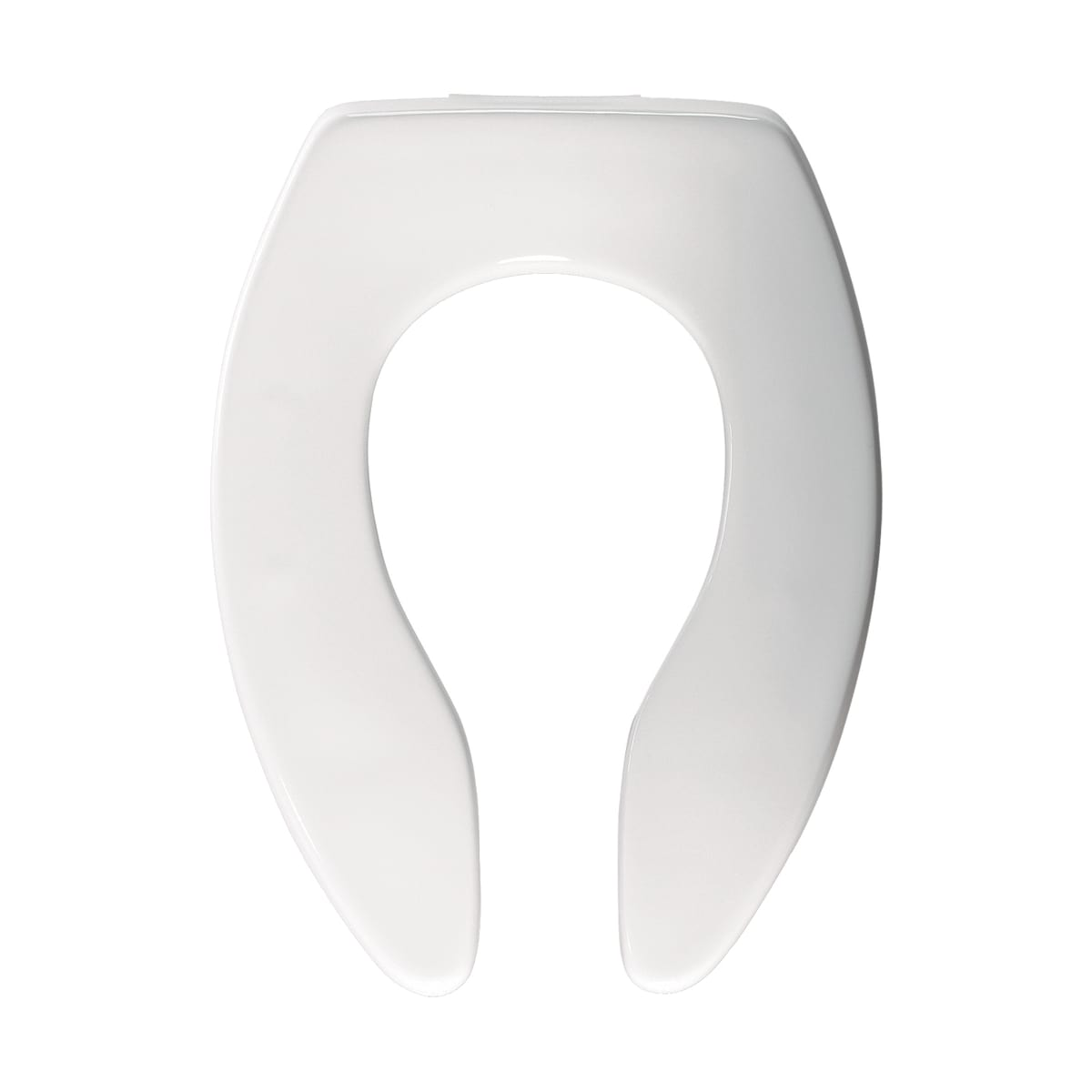 Bemis 3155CT 000 White Elongated Commercial Plastic Open Front Toilet Seat Less Cover with STA-TITE® Check Hinge and DuraGuard® - FaucetDirect.com