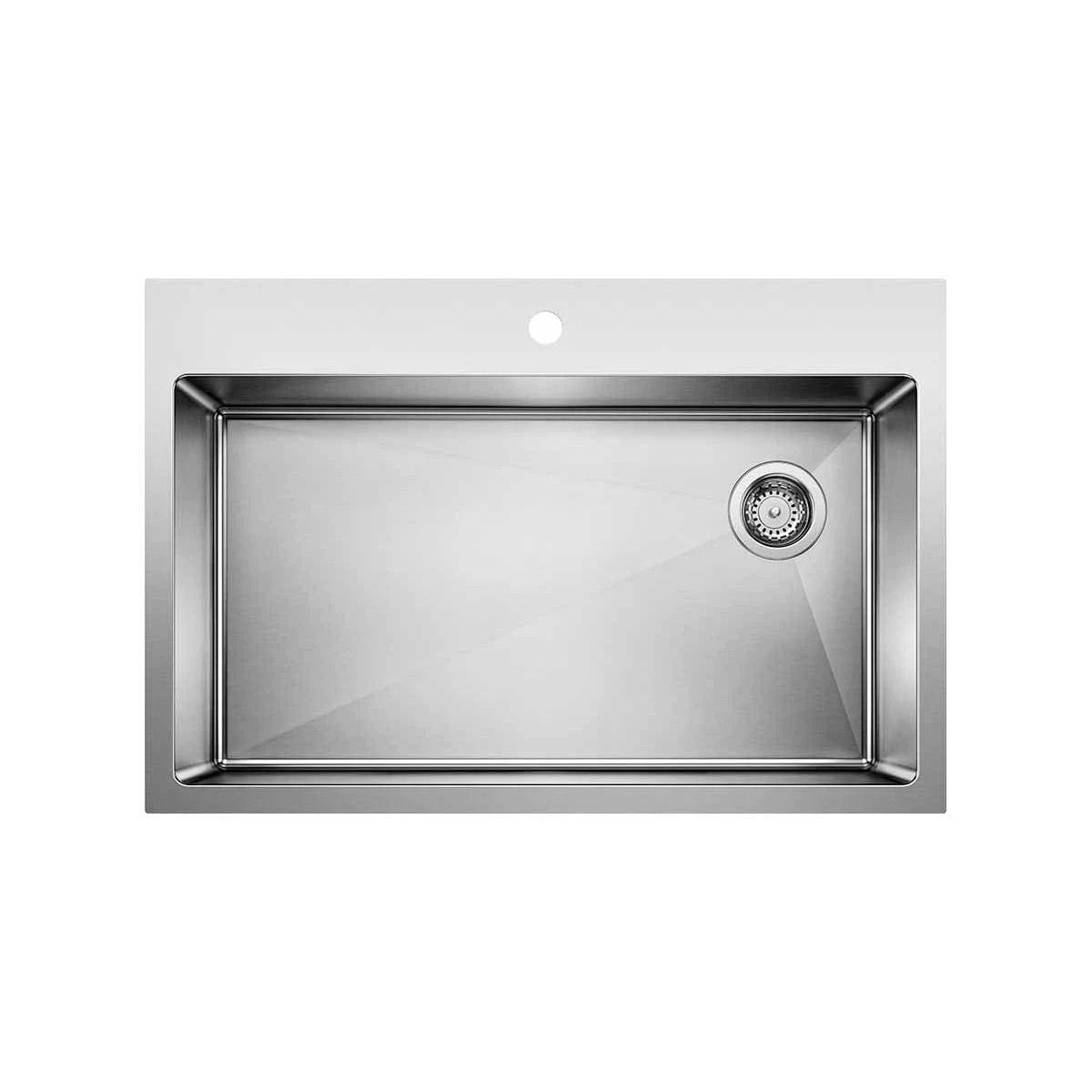 Blanco 524221 Stainless Steel Quatrus 33 X 22 Drop In Undermount Single Basin Kitchen Sink Faucet Com