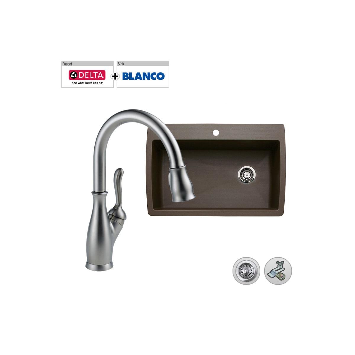 Build Smart Kits B440192 D9178 Dstch Chrome Faucet Combo Blanco 33 1 2 Single Bowl Granite Sink With Delta Leland Pullout Spray Faucet Faucet Com