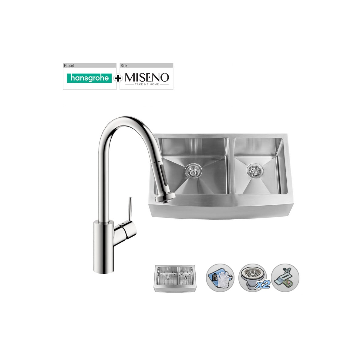 Build Smart Kits Mno163620f6040 H14877 Ch Chrome Faucet Miseno 36 Double Bowl 16 Gauge Stainless Steel Kitchen Sink With Hansgrohe Talis S Pullout Spray Faucet Faucet Com