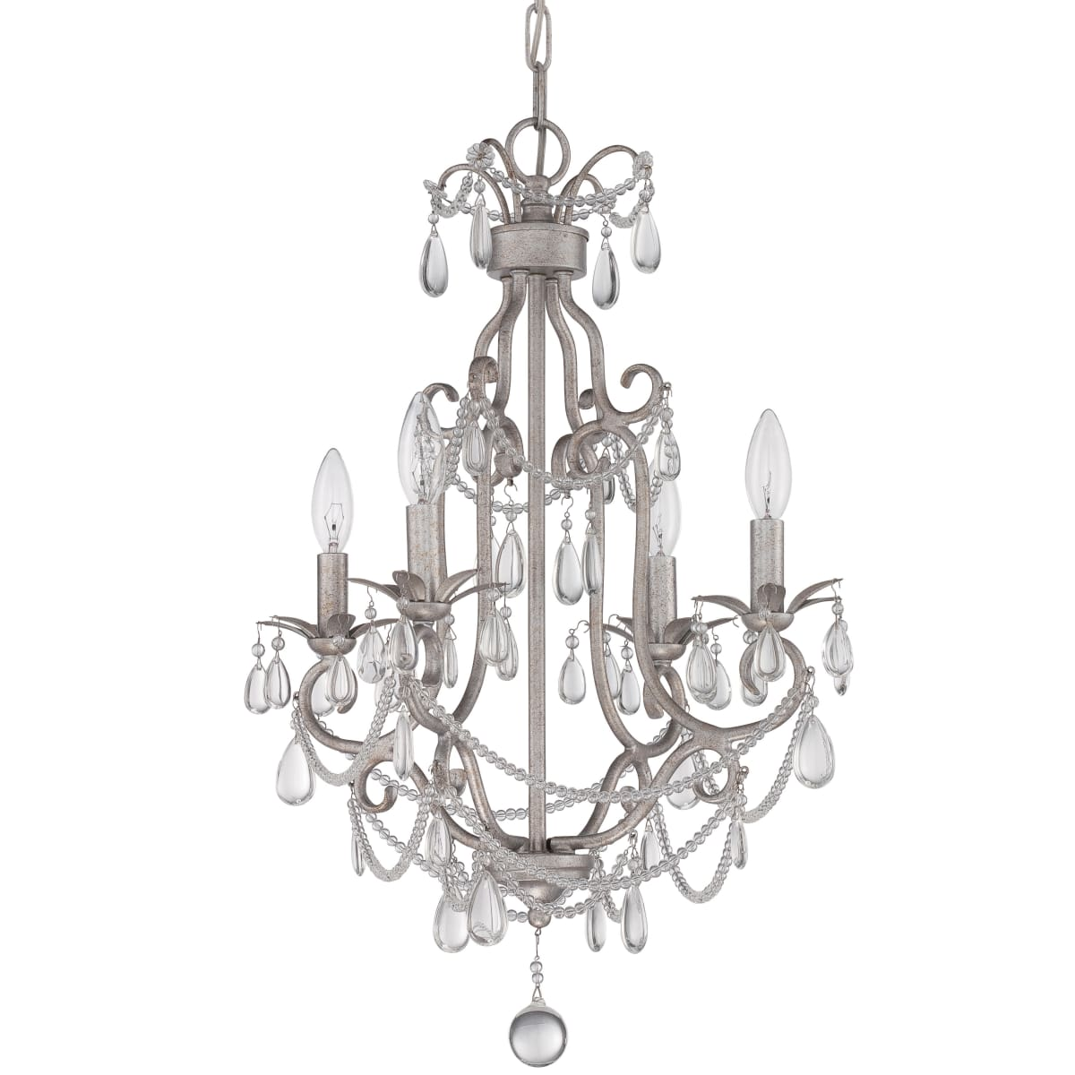 Craftmade Antique Silver chandelier with crystals - a gorgeous lighting option for a romantic French inspired space.Charming European Country Interior Design Inspiration: June Favorites, Part 2 Shares French Country Photos of Interiors to Inspire As Well As Decorating Finds and Tips Shared in June.