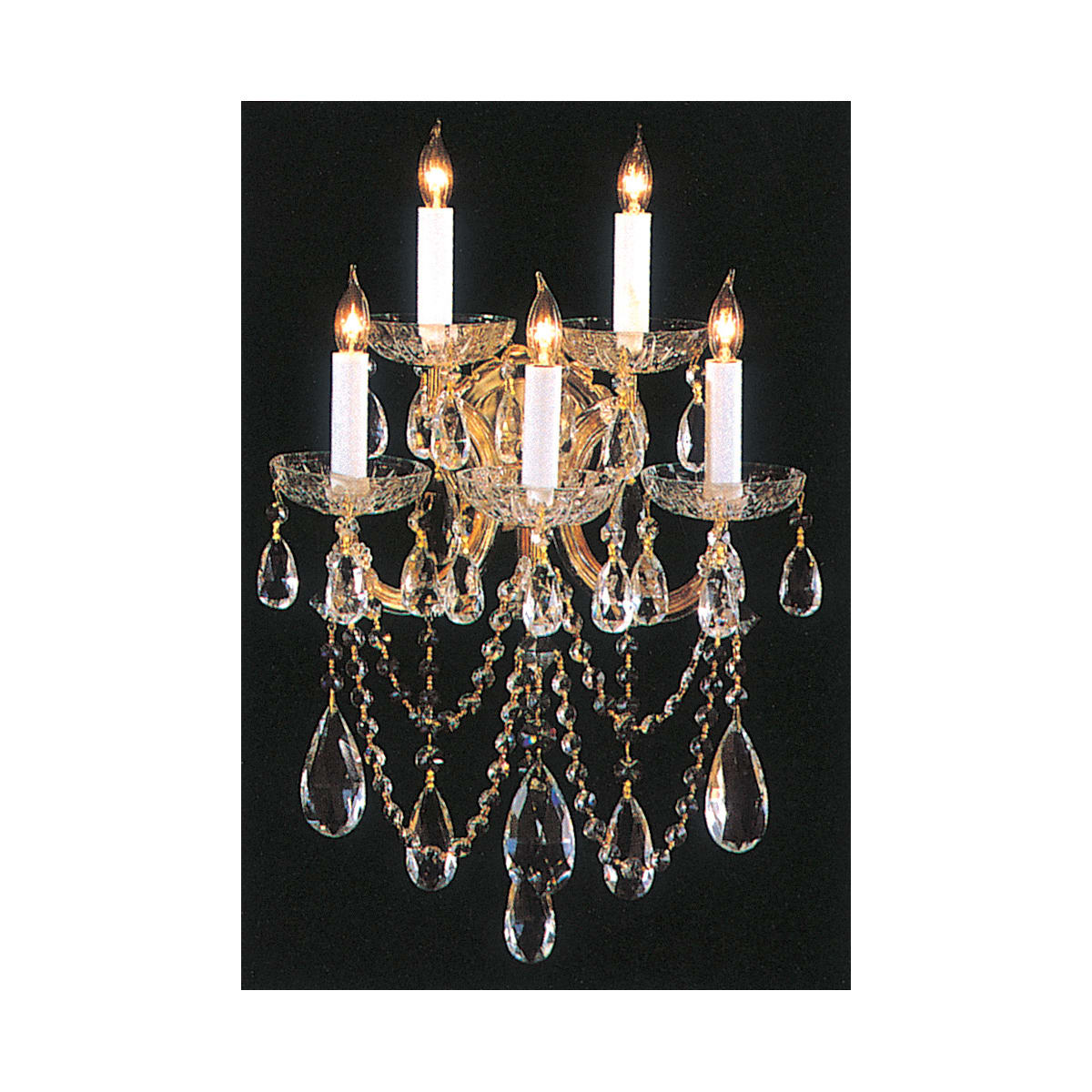 Crystorama Lighting Group 4425 Gd Cl S Gold Maria Theresa 5 Light 13 1 2 Wide Wall Sconce With Clear Swarovski Strass Crystals