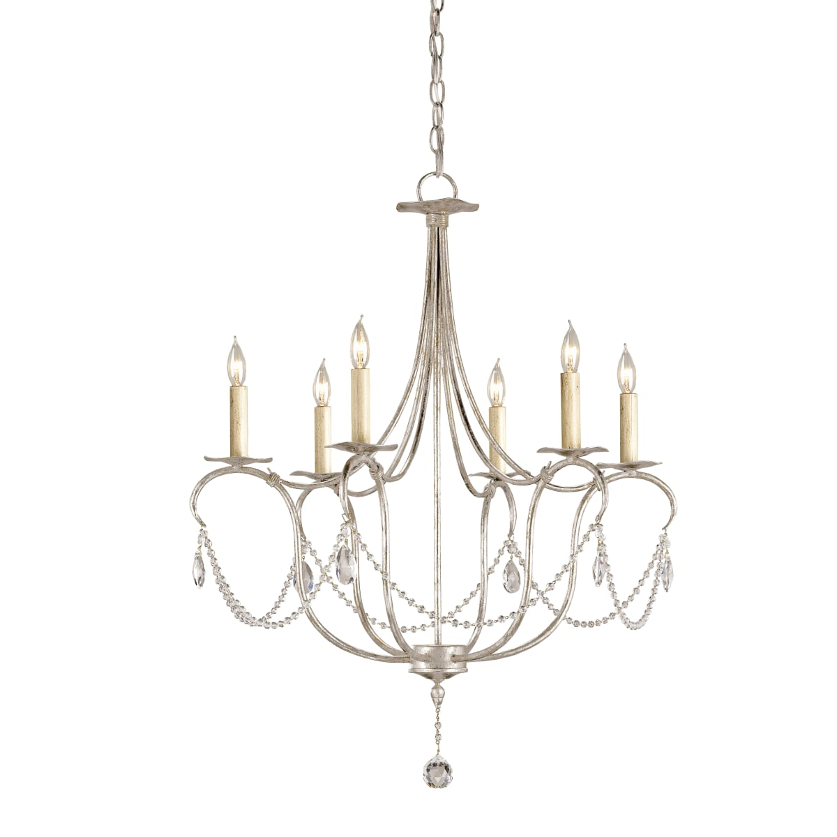 9890 Silver Leaf 6 Light Wrought Iron