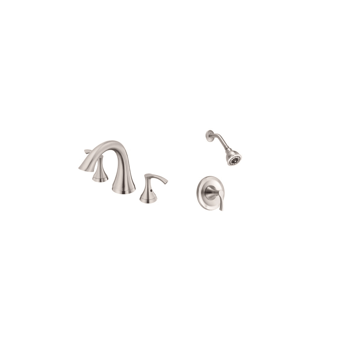 Danze Antioch Faucet and Shower Bundle 1 BN Brushed Nickel Roman Tub ...
