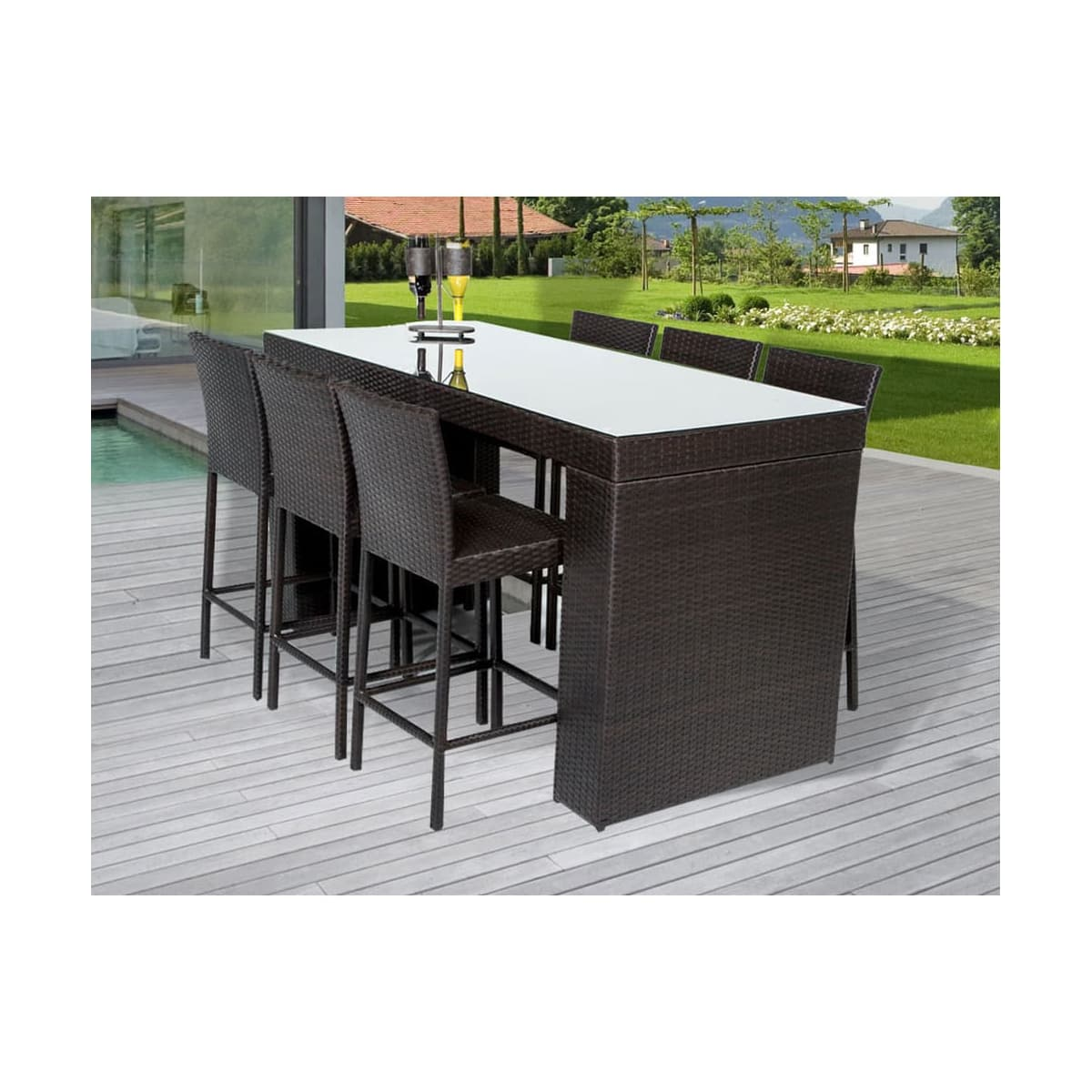 Wine country 7 piece aluminum framed outdoor bar set with rectangular glass tabletop and solid back barstools