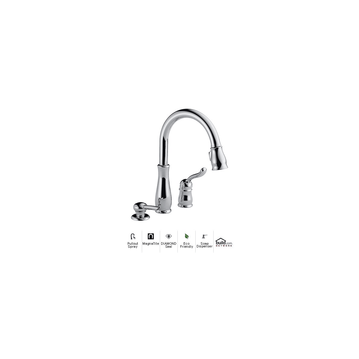 Delta 978 We Dst Sd Chrome Leland Pull Down Kitchen Faucet With Magnetic Docking Spray Head And Soap Lotion Dispenser Water Efficient Includes Lifetime Warranty Faucetdirect Com