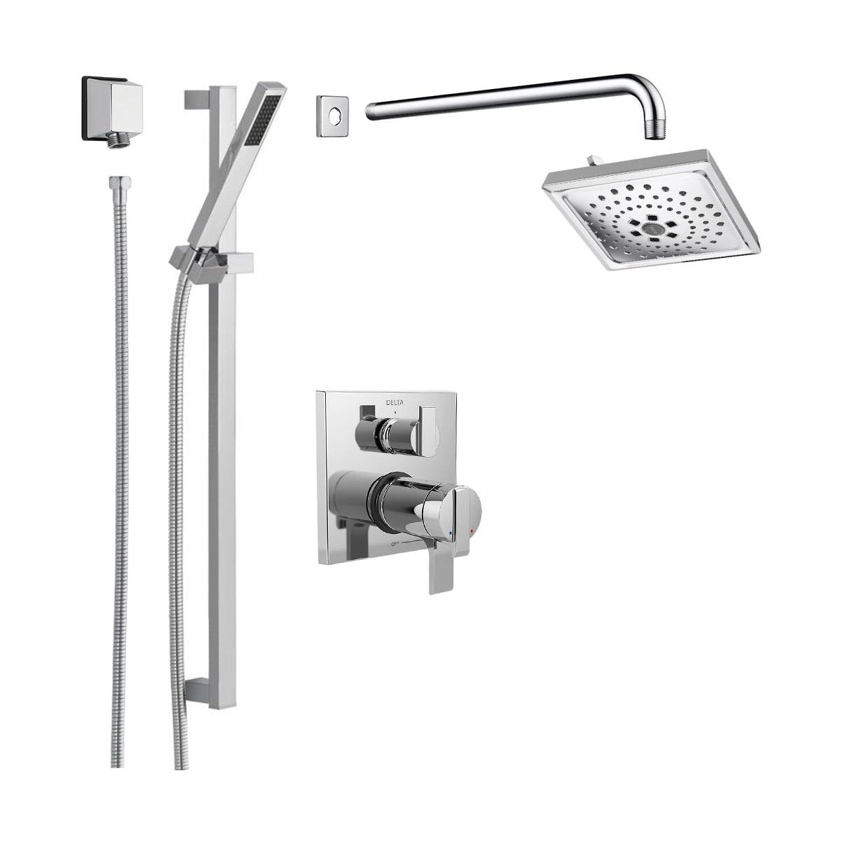 Delta Dss Ara 17t05 Chrome Ara Thermostatic Shower System With Shower Head Shower Arm Hand Shower Slide Bar Hose Valve Trim And Multichoice Rough In Faucet Com