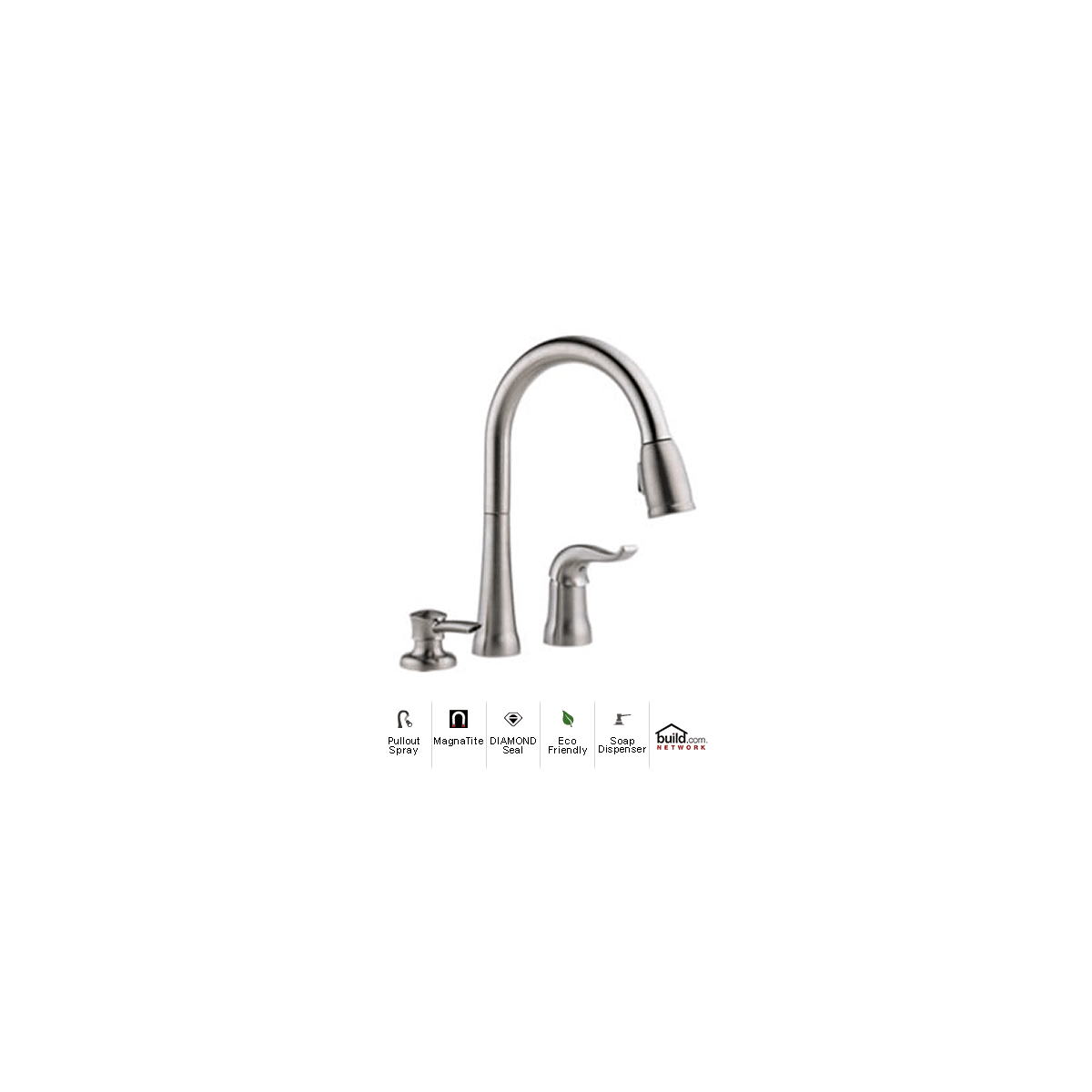 Delta 16970 Sssd Dst Brilliance Stainless Kate Pullout Spray Kitchen Faucet With Magnatite Docking Diamond Seal And Touch Clean Technologies Includes Soap Dispenser Faucetdirect Com