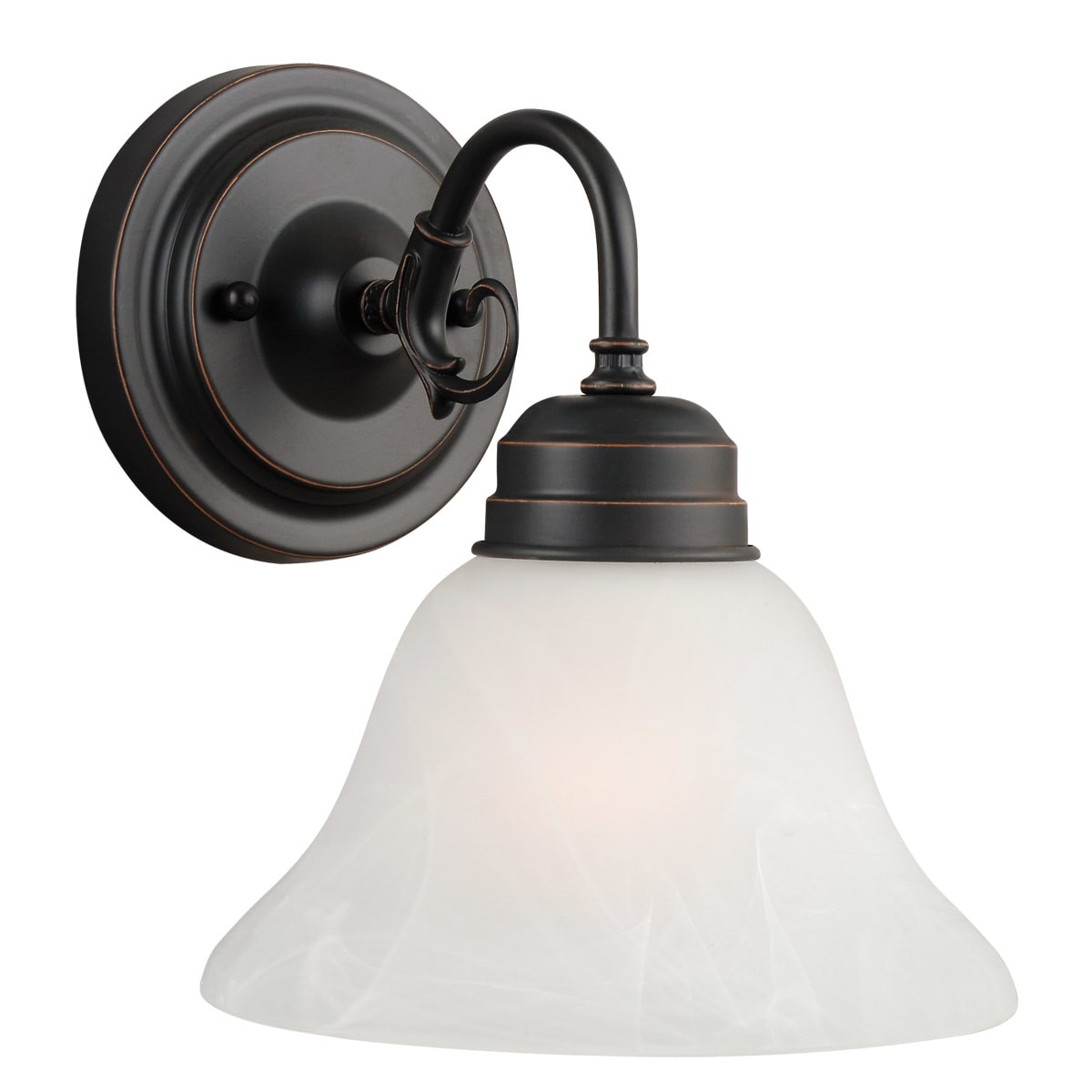 Design House 514497 Oil Rubbed Bronze Millbridge Traditional Classic 1 Light Up Down Lighting Wall Sconce With Alabaster Glass Faucet Com