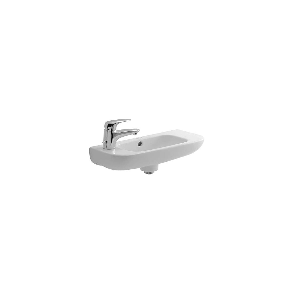 Duravit 07065000092 White Glazed Underside D Code 19 5 8 Specialty Ceramic Wall Mounted Bathroom Sink With Overflow And 1 Faucet Hole On Left Faucet Com