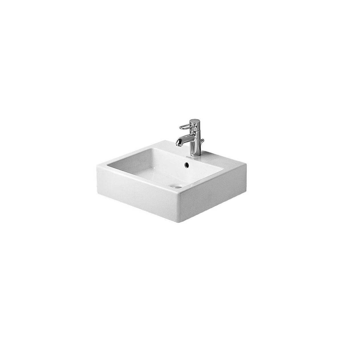 Duravit 04545000251 White With Wondergliss Ground Vero 19 5 8 Rectangular Ceramic Wall Mounted Bathroom Sink With Overflow And 3 Faucet Holes At 8 Centers Faucet Com