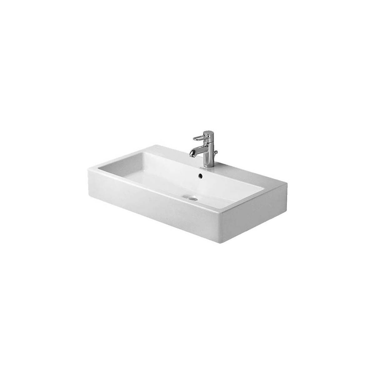 Duravit 0454700000 White Glazed Underside Vero 28 Ceramic Vanity Top With 1 Faucet Hole Faucetdirect Com