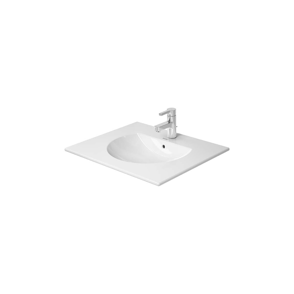 Duravit 0499630000 White Darling New 25 Ceramic Vanity Top With 1 Faucet Hole Faucet Com