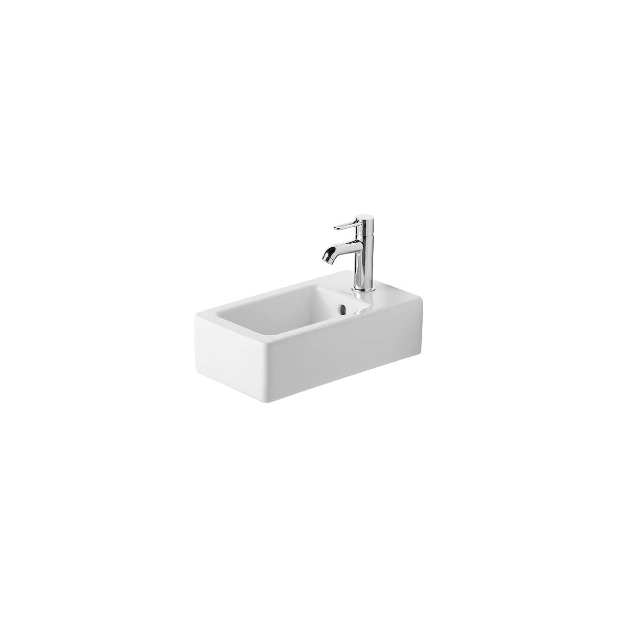 Duravit 0702250000 White Glazed Underside Vero 9 7 8 Rectangular Ceramic Wall Mounted Bathroom Sink With Overflow And 1 Faucet Hole Faucetdirect Com