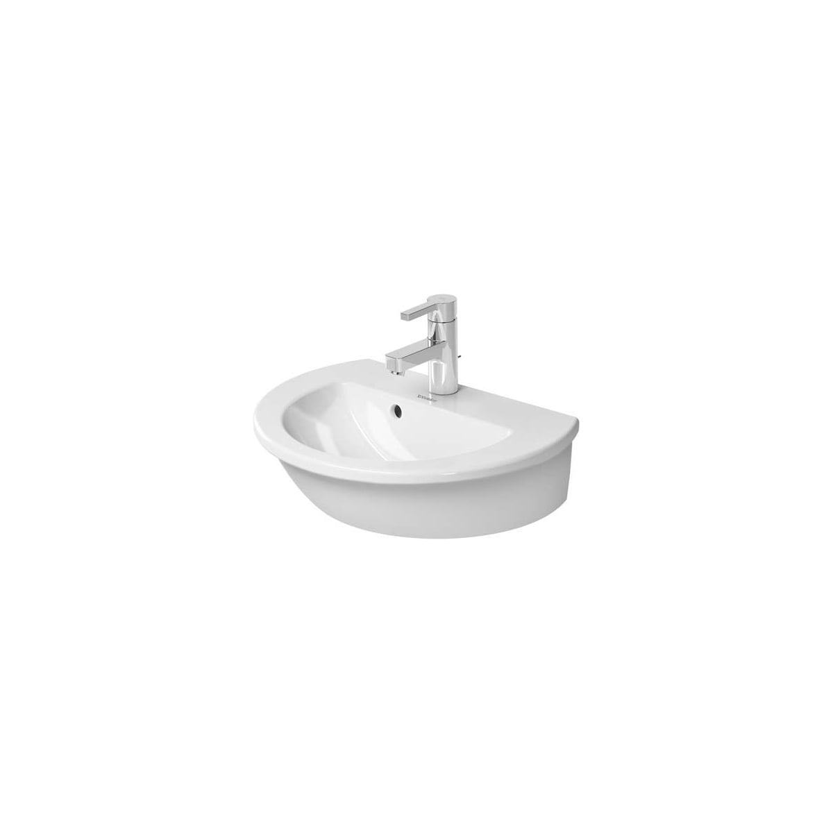 Duravit 0731470000 White Glazed Underside Darling New 18 1 2 Specialty Ceramic Wall Mounted Bathroom Sink With Overflow And 1 Faucet Hole Faucet Com
