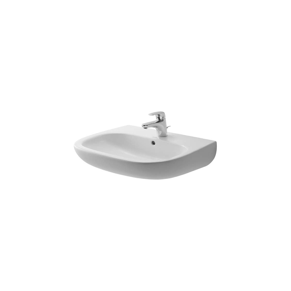 Duravit 23106000002 White Glazed Underside D Code 23 5 8 Specialty Ceramic Wall Mounted Bathroom Sink With Overflow And 1 Faucet Hole Faucet Com