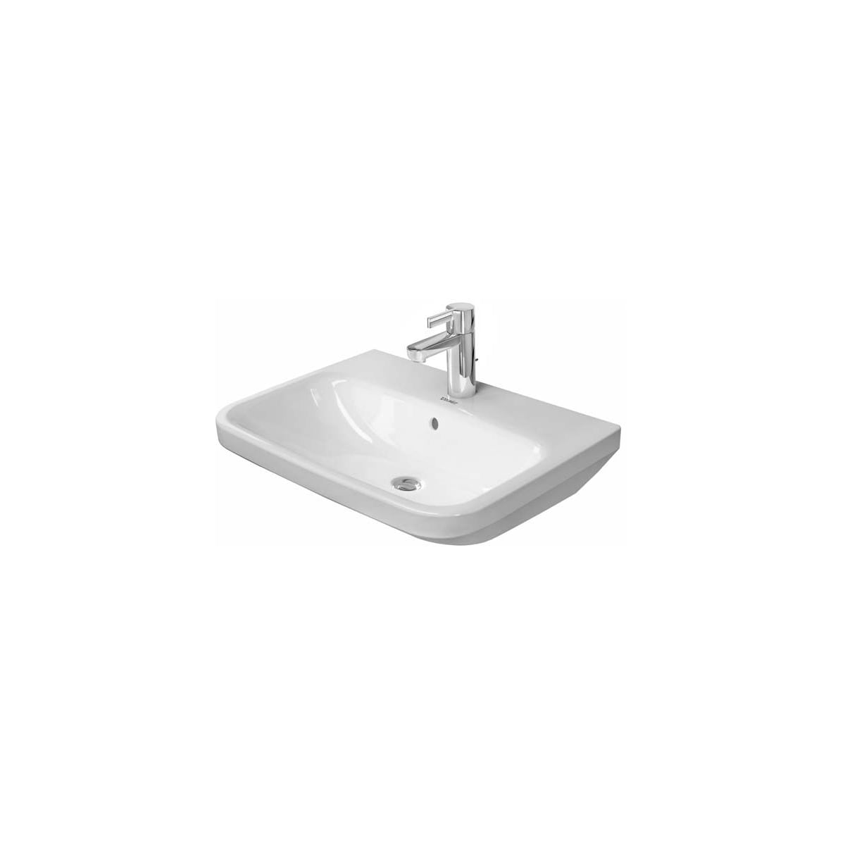 Duravit 2319600000 White Glazed Underside Durastyle 23 5 8 Rectangular Ceramic Wall Mounted Bathroom Sink With Overflow And Single Faucet Hole Faucetdirect Com