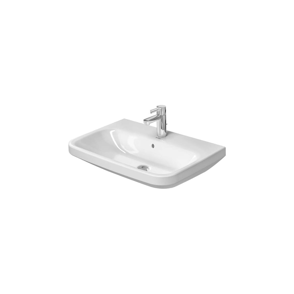 Duravit 2319650000 White Glazed Underside Durastyle 25 5 8 Rectangular Ceramic Wall Mounted Bathroom Sink With Overflow And Single Faucet Hole Faucetdirect Com