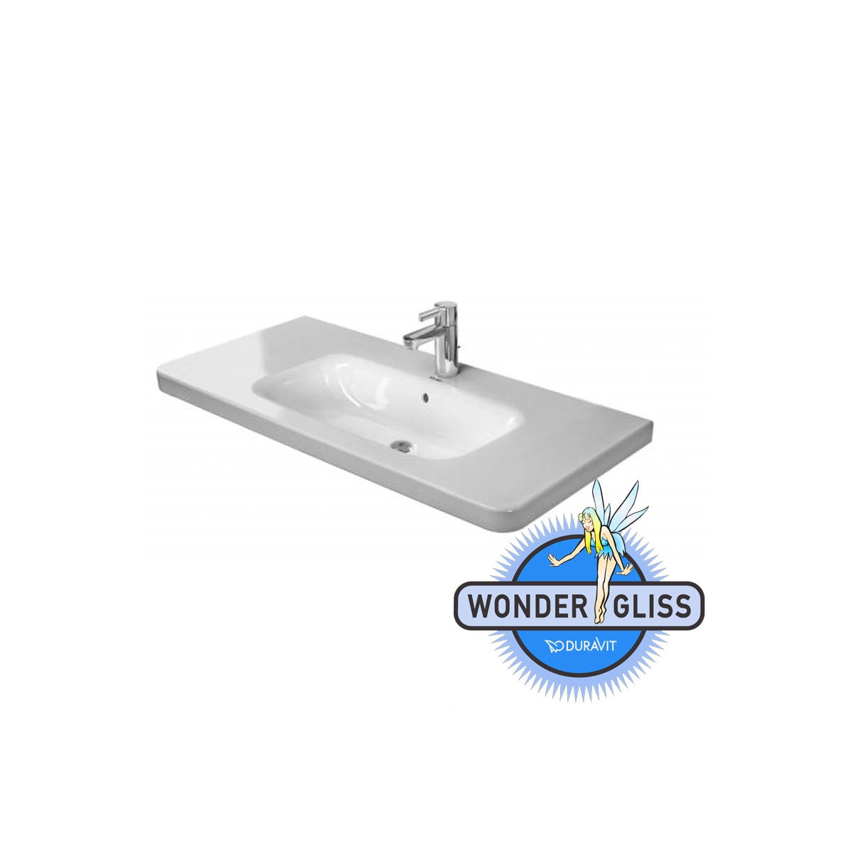 Duravit 23201000001 White Wondergliss Durastyle 39 3 8 Ceramic Bathroom Sink For Vanity Wall Mounted Floating Or Pedestal Installations With Single Faucet Hole Faucet Com