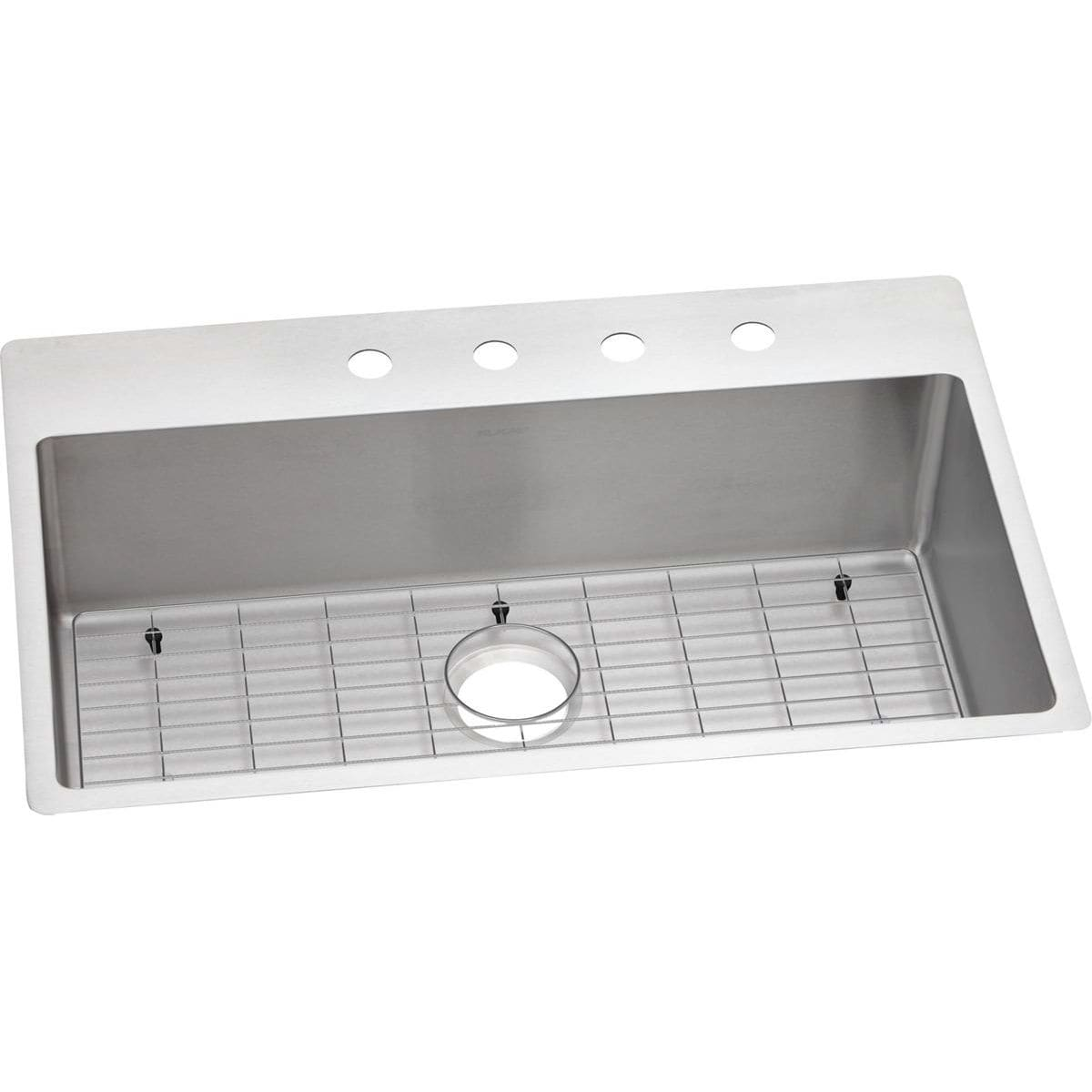 Elkay Ectsrs33229tbg4 4 Faucet Holes Crosstown 33 Drop In Single Basin Stainless Steel Kitchen Sink With Basin Rack Faucetdirect Com