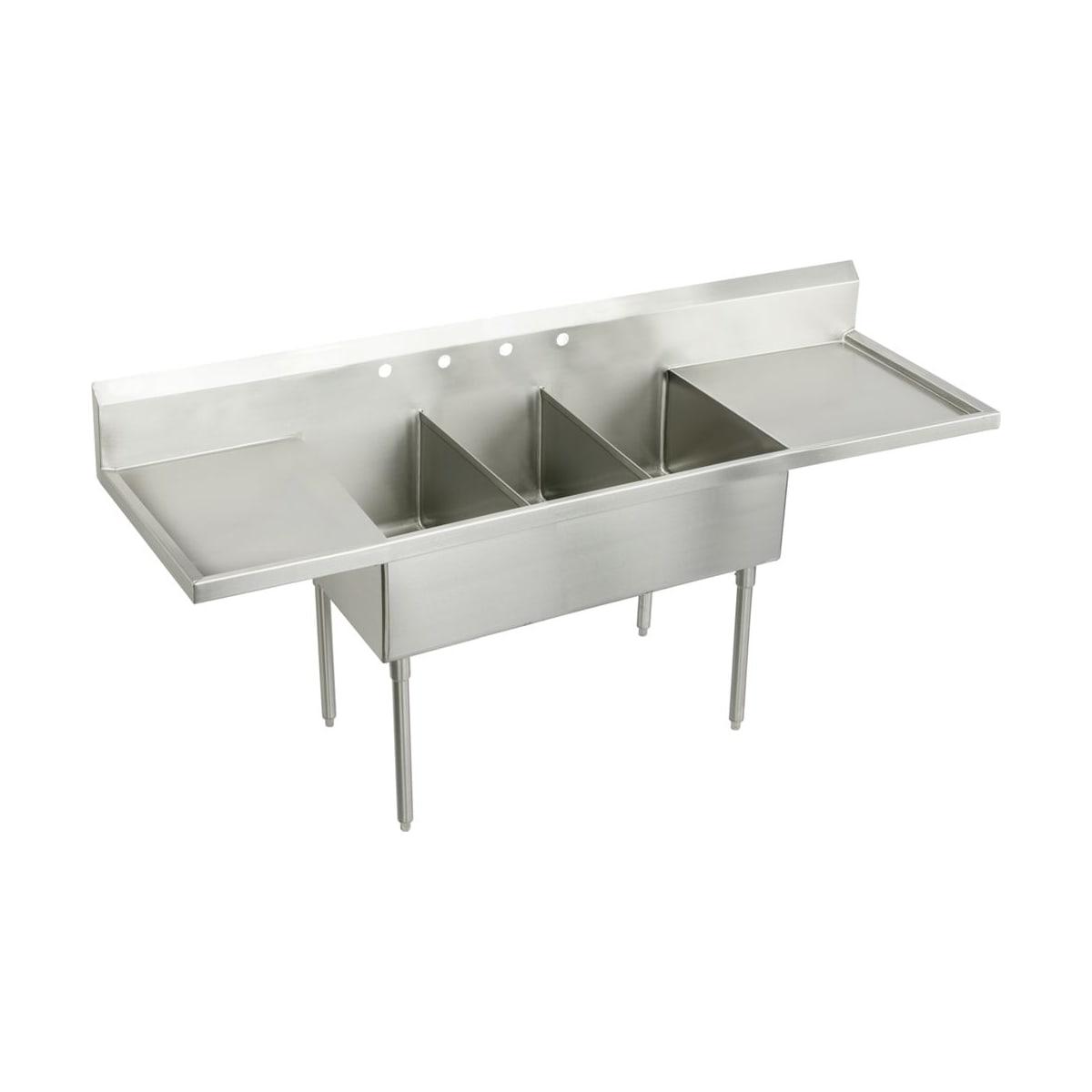 Elkay Wnsf8354lrof4 4 Faucet Holes Weldbilt 102 Triple Basin Free Standing Stainless Steel Utility Sink Faucetdirect Com