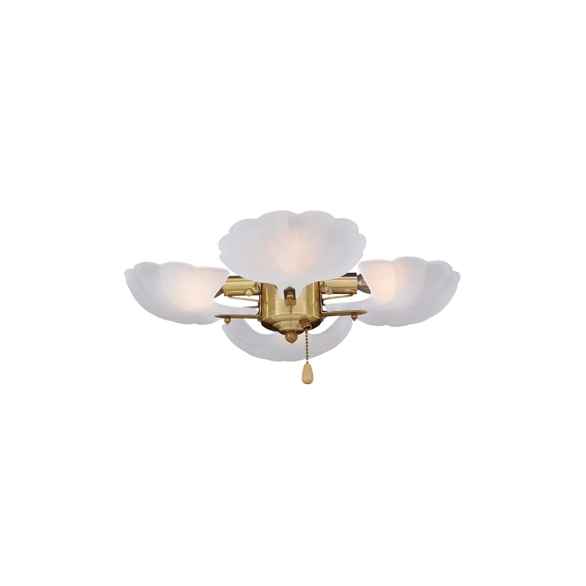 Emerson Cfshlkpb Polished Brass Functional Fan Light Kit 4 Light Shell Detail Lightingdirect Com