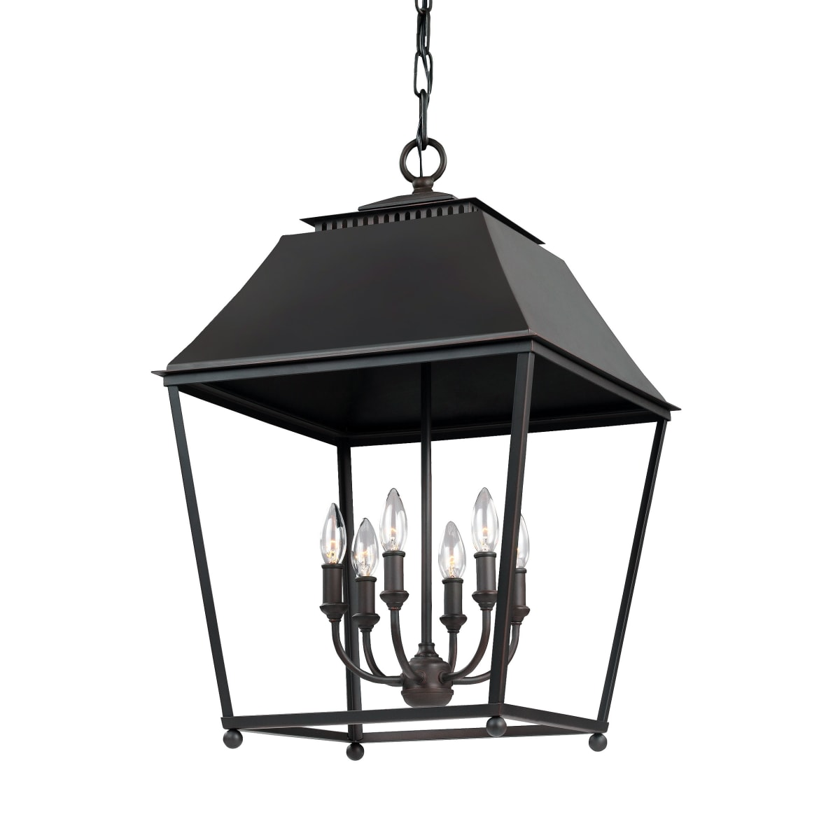What a gorgeous oversized hanging lantern chandelier from Feiss (Galloway)  for a French farmhouse kitchen or dining room! Come discover more French Farmhouse Decor inspired by Fixer Upper and click here to Get the Look of The Club House Kitchen & Sun Room. #fixerupper #joannagaines #kitchendecor #frenchfarmhouse