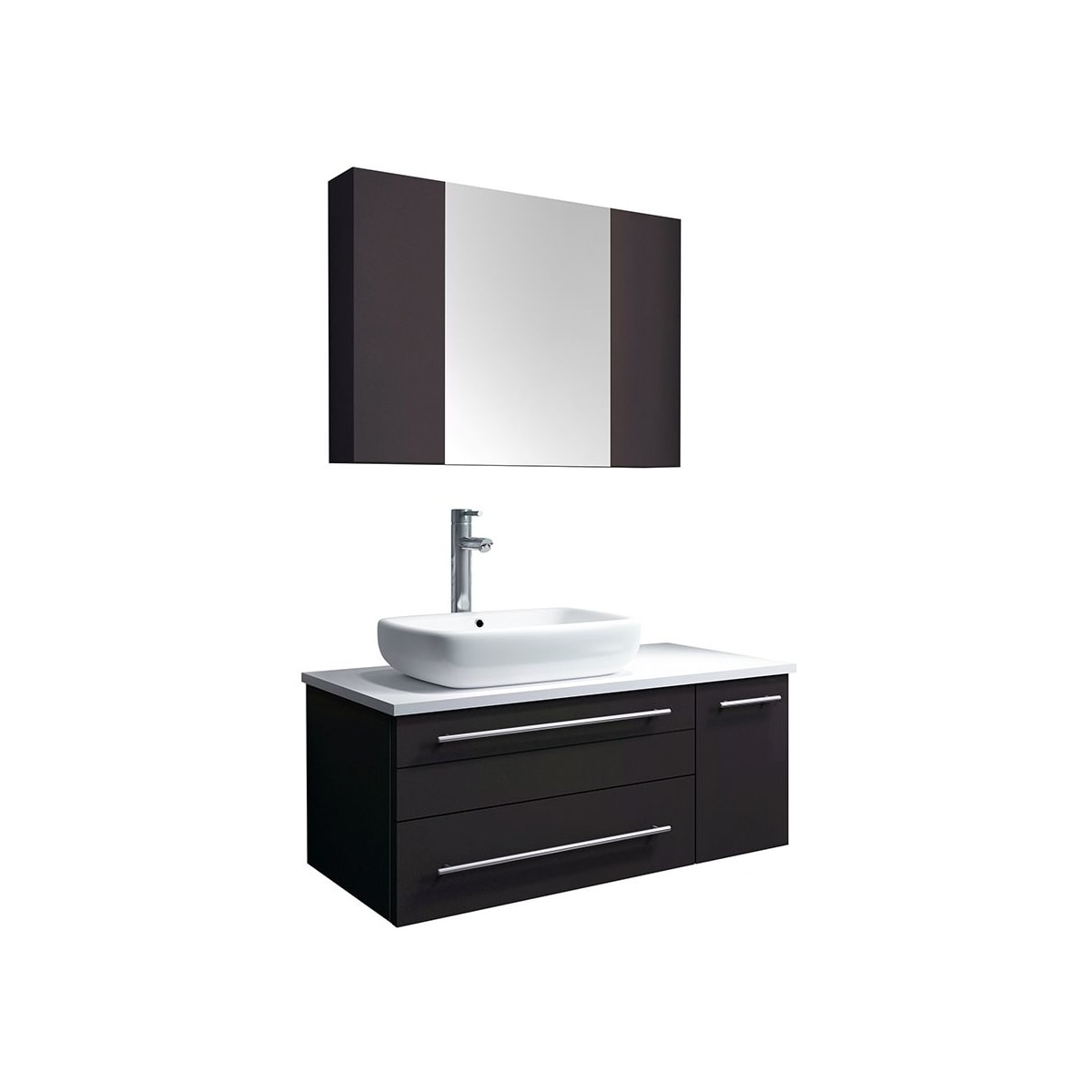 Picture of: Fresca Fvn6136es Vsl L Espresso Stella 36 Wall Mounted Single Right Basin Vanity Set With Wood Cabinet Quartz Vanity Top Medicine Cabinet Faucet And Frameless Mirror Faucet Com