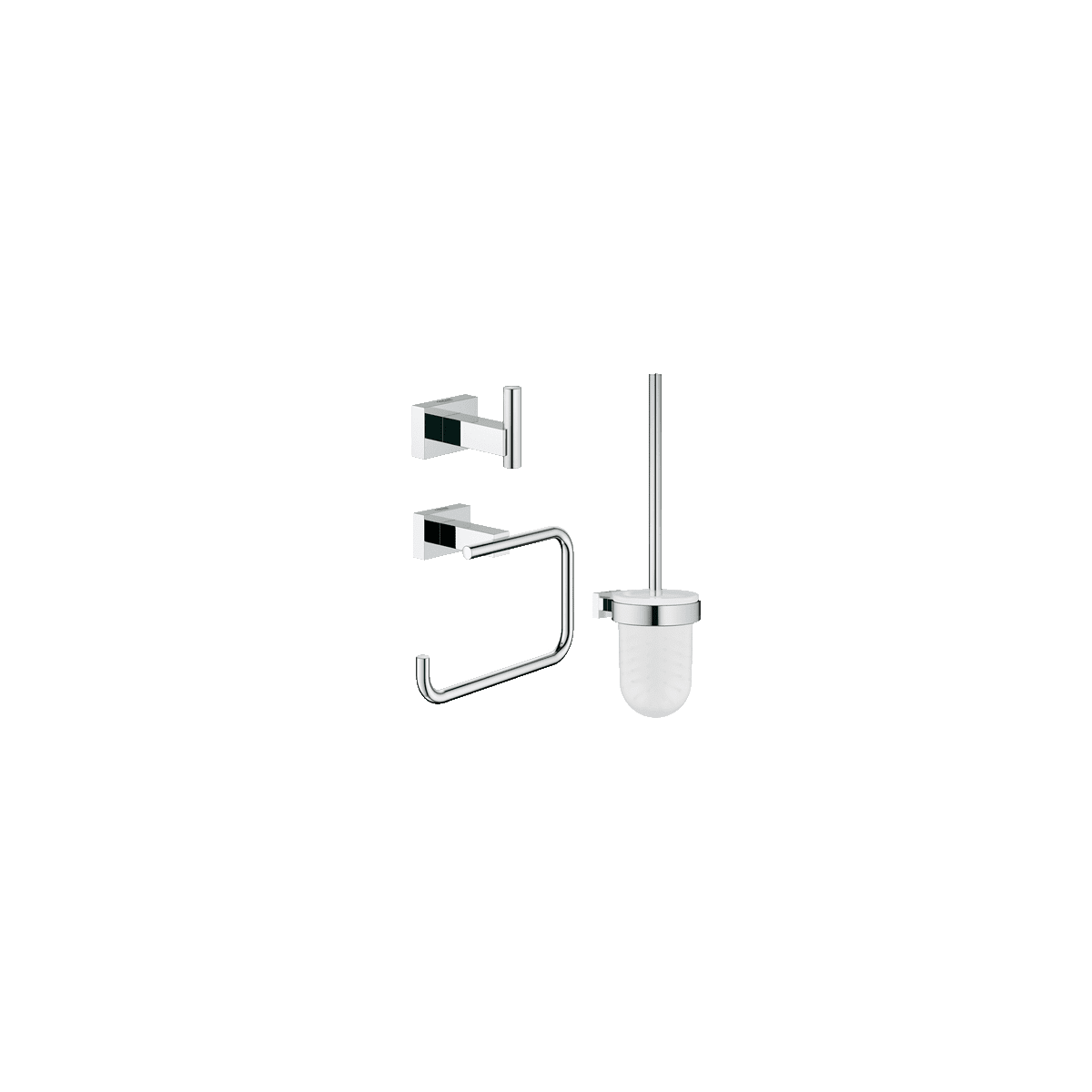 Grohe 40757001 Starlight Chrome Essentials Cube Accessory Kit Includes Toilet Paper Holder Robe Hook And Brush Faucet