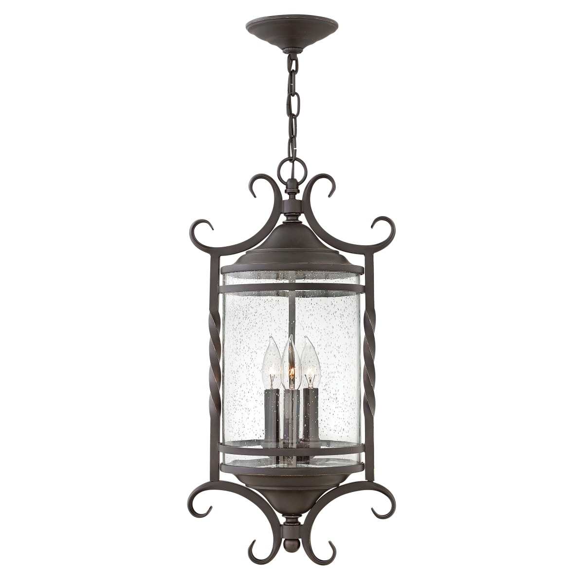 Hinkley Lighting 1147ol Cl Olde Black Casa 3 Light 12 Wide Wrought Iron Outdoor Pendant With Seedy Glass Shade Lightingdirect Com