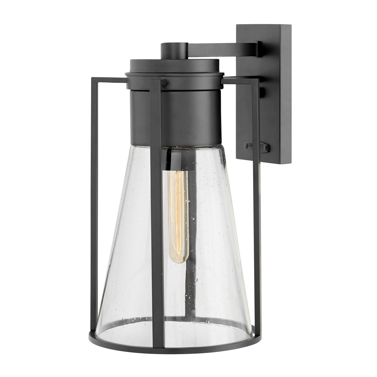 Hinkley Lighting 2825bk Black 1 Light 16 3 4 Tall Outdoor Wall Sconce With Clear Seedy Glass From The Refinery Collection Lightingshowplace Com
