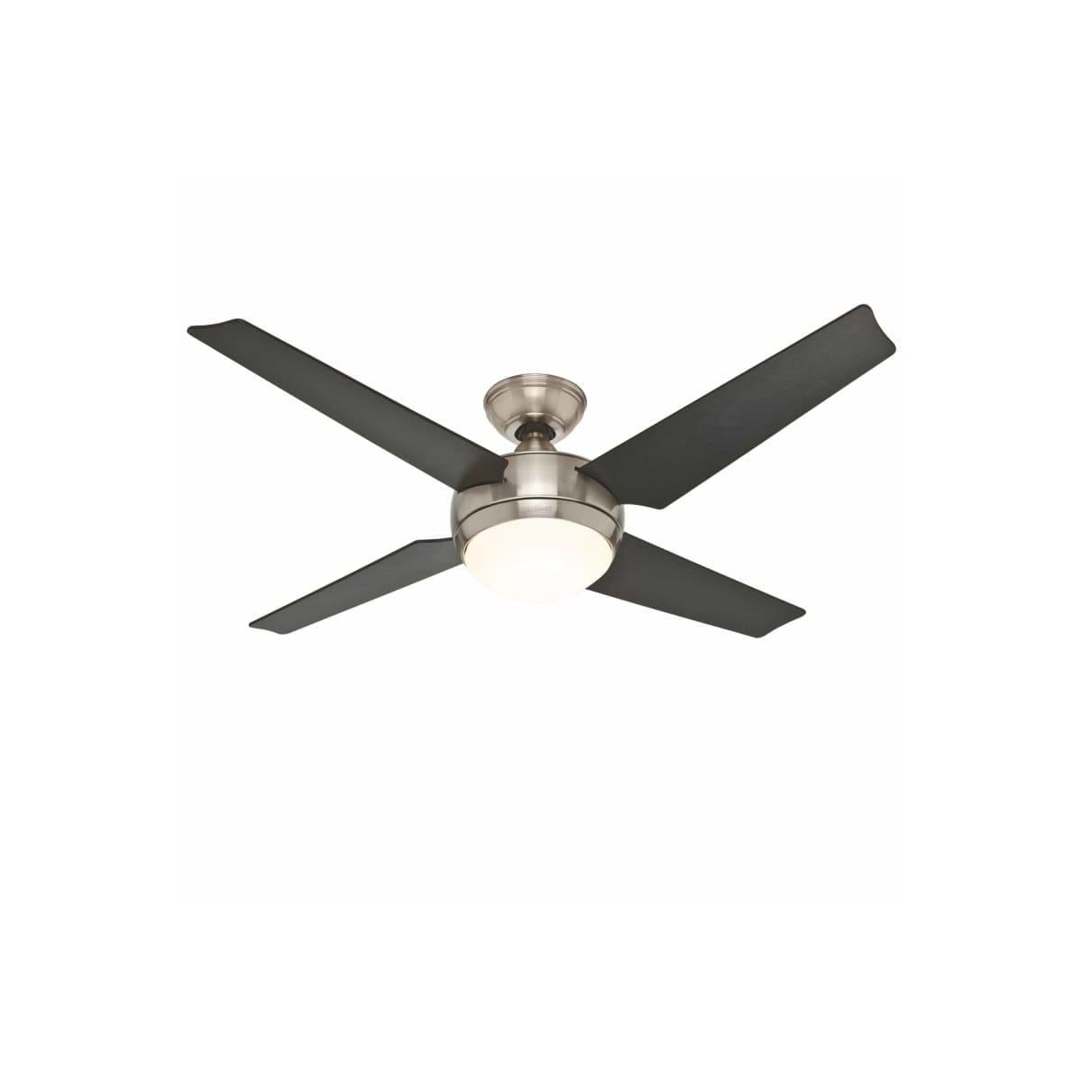 Hunter 59072 Brushed Nickel 52 Indoor Ceiling Fan 4 Reversible Blades Led Light Kit And Remote Control Included Lightingshowplace Com