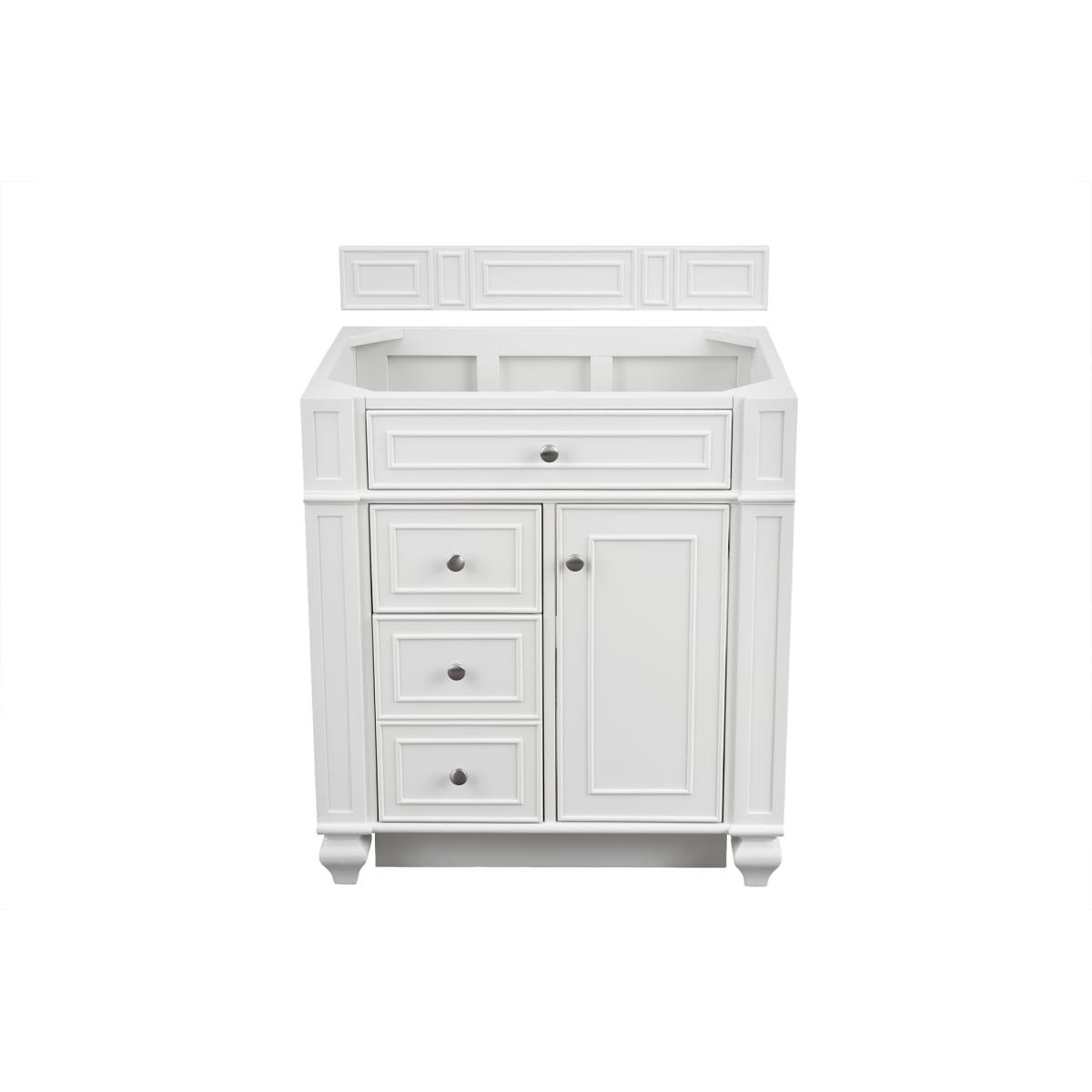 James Martin Vanities 157 V30 Bw 3gex Bright White Bristol 30 Single Basin Wood Vanity Set With Grey Expo Quartz Vanity Top Faucetdirect Com